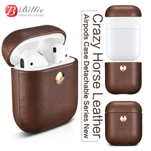 Crazy Horse Leather Bag For Apple AirPods Bluetooth Wireless Earphone Leather Case Cover For Air Pods 2 Cover Charging Box Cases