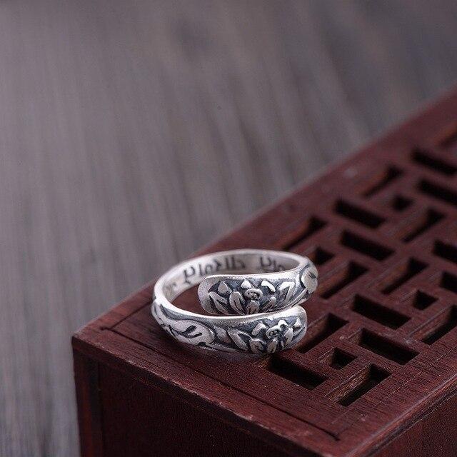 Echte Pure 999 Sterling Zilveren Lotus Manchet Armband Voor Vrouwen Bloem Graveren Boeddhistische Sieraden