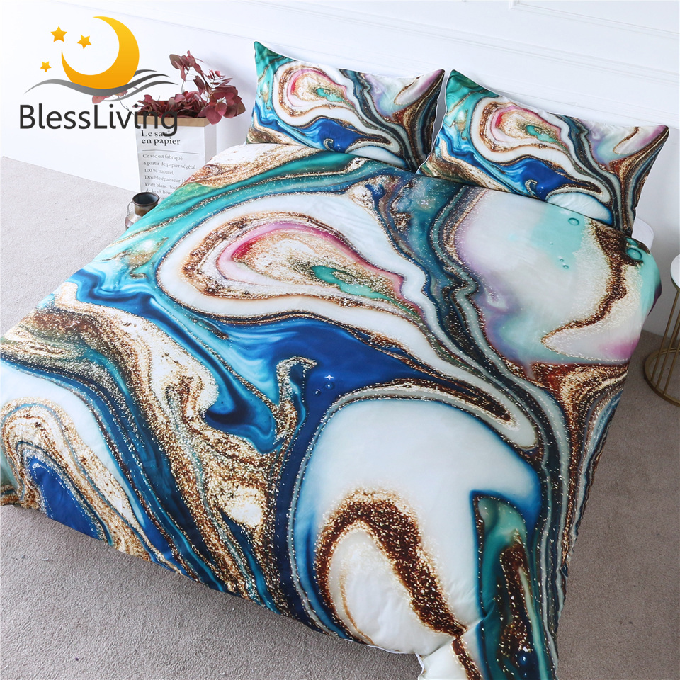 BlessLiving Marble Texture Bedding Set Queen Golden Green Blue Duvet Cover Quicksand Bed Cover 3-Piece Luxury Bedspread Dropship