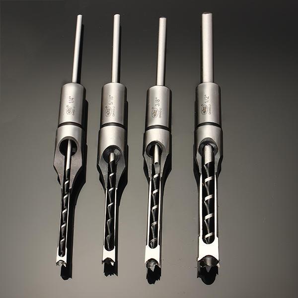4PCS HSS Twist Bohrer Holz Bohrer Werkzeuge Kit Set Platz Auger Stemmen Meißel Bohrer Set Platz Loch Erweitert sah