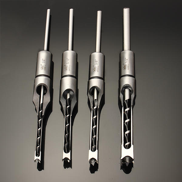 4PCS HSS Twist Drill Bits Woodworking Drill Tools Kit Set Square Auger Mortising Chisel Drill Set Square Hole Extended Saw