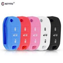 KEYYOU funda de silicona para coche carcasa de llave a distancia de coche, 3 botones, para Peugeot 508, 301, 2008, 3008, 408, C4, CACTUS, C5, C3, C4L