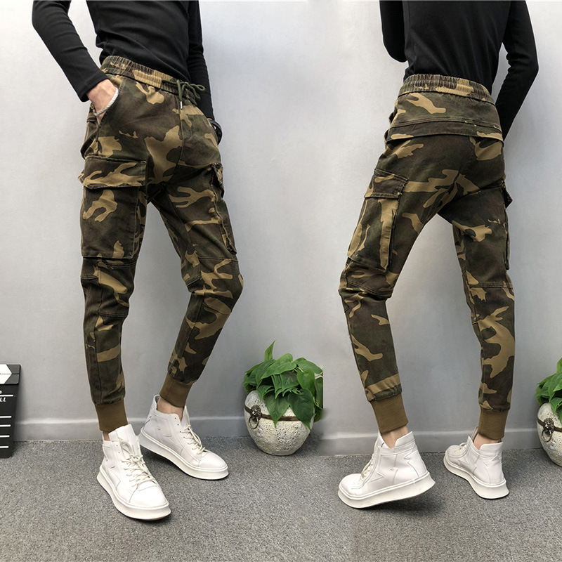 Lively Fella Beam Leg Camouflage Men's Trousers Skinny Harem Trousers Deft Online Celebrity Style Autumn And Winter Casual Pants