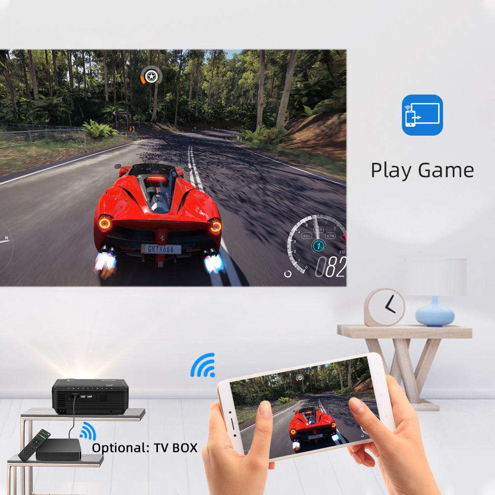 BYINTEK K18 Mais Barato 1920x1080 Full HD 1080P Mini Projetor Portátil Game LCD LED 3D (Opcional Android 10 TV BOX  para Smartphone)-4