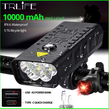 10000mAh światło rowerowe USB akumulator 5000 lumenów reflektor rowerowy 6T6 LED Super jasna latarka przednie światła i tylne światło tylne tanie i dobre opinie TRLIFE Rohs CN (pochodzenie) NX3 5T6 Kierownica Baterii Aluminum Alloy 6063 Aluminum Alloy+pc LED Bulbs 3 modes above 500m