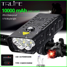 10000mAh światło rowerowe USB akumulator 5000 lumenów reflektor rowerowy 6T6 LED Super jasna latarka przednie światła i tylne światło tylne tanie tanio TRLIFE Rohs CN (pochodzenie) NX3 5T6 Kierownica Baterii Aluminum Alloy 6063 amp Aluminum Alloy+pc LED Bulbs 3 modes above 500m