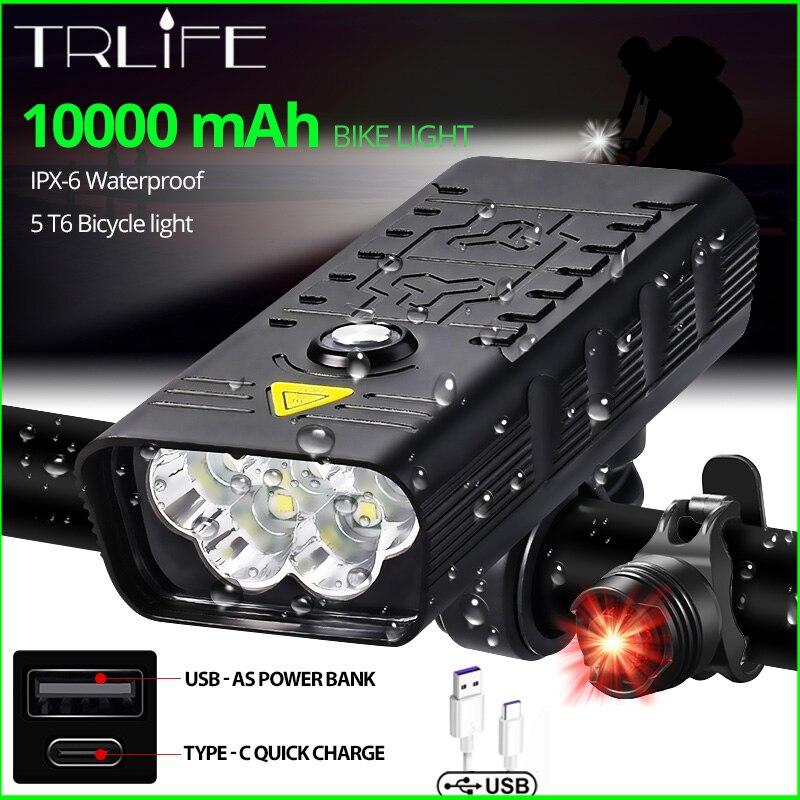 10000mAh Bike Light USB Rechargeable 3000 Lumens Bike Headlight 5T6 LED Super Bright Flashlight Front Lights and Back Rear light