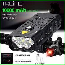 10000mAh vélo lumière USB Rechargeable 3000 Lumens vélo phare 5T6 LED Super lumineux lampe de poche avant lumières et arrière lumière