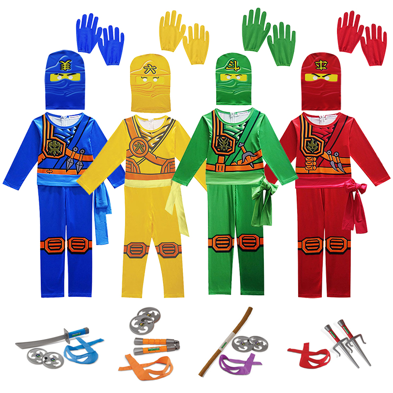 Ninjago Cosplay Costumes Boys And Girls Jumpsuit Weapon Set Cosplay Anime Children's Fantasy Halloween Christmas Party Clothes