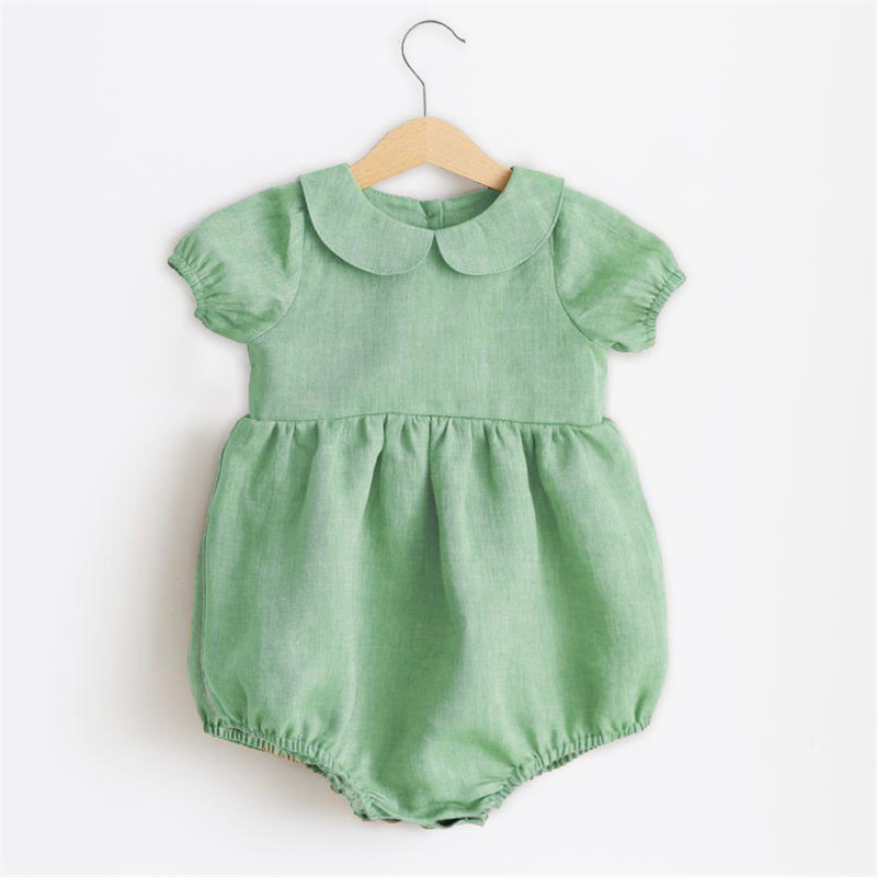Summer Baby Girl Jumpsuits 0-18M Linen Cotton Newborn Baby Girl Romper Infant Jumpsuits Sunsuit Summer Clothes Outfits 0-18M | Happy Baby Mama