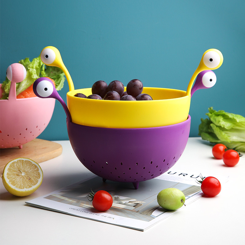 Cute Little Monster Drain Basket Creative Stylish Living Room Snack Storage Basket Kitchen Fruit And Vegetable Cleaning Tool