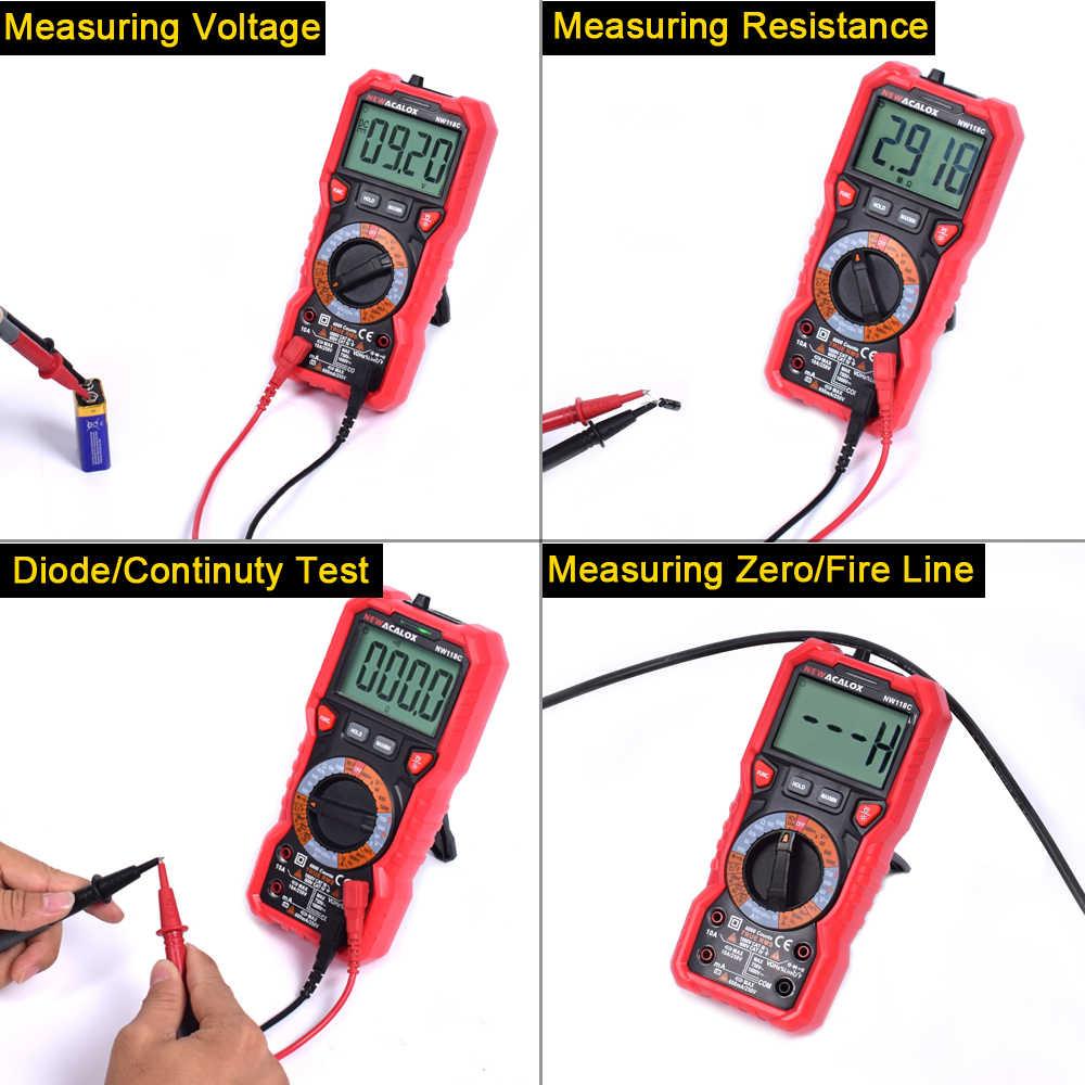 Newacalox Ncv Multimeter Draagbare Smart Indicator Backlight Digitale Lcd Ac/Dc Spanning Stroom Temp Transistor Tester Zaklamp