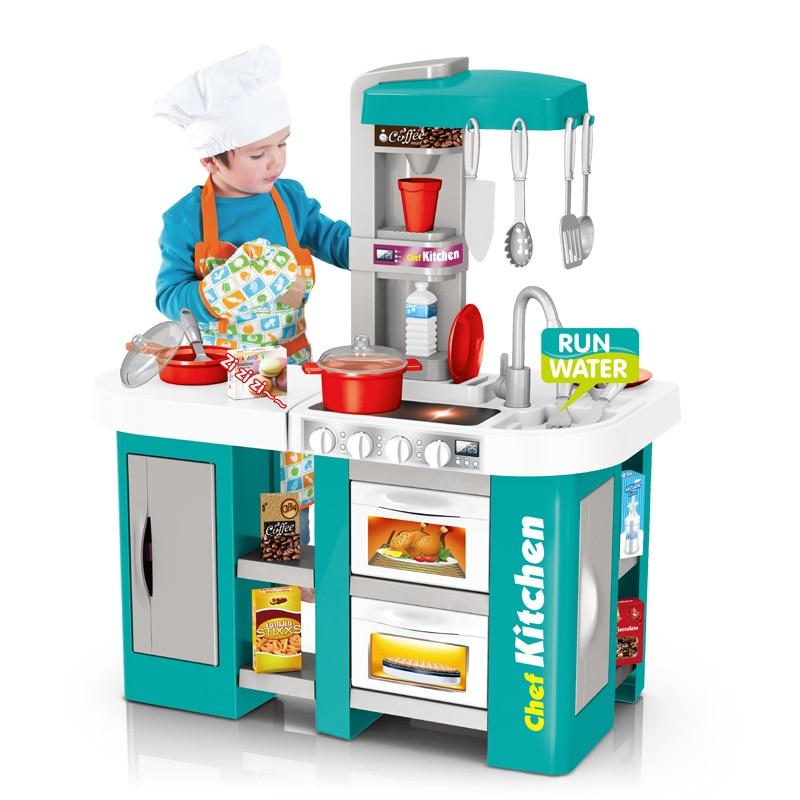 49pcs/53pcs 72.5cm Height Kids Kitchen Toys Set Children Cooking Toy Kitchen Pretend Play Simulation Kitchen Girls Toy Gift