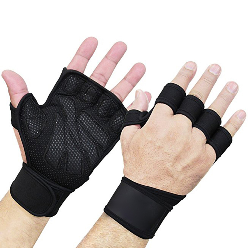 1* Pair Weight Lifting Gloves Gym Leather Padded Fitness Training Body Building Straps