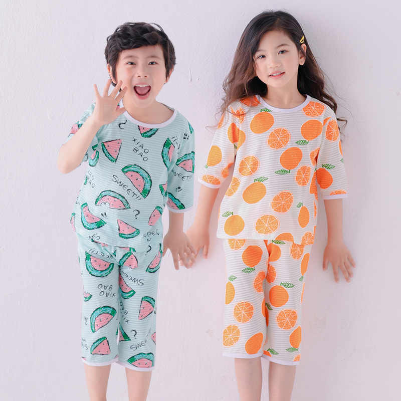 Summer Kids Baby Boy Girl Cartoon Spiderman 2PCS Pajamas Sleepwear T-shirt Short