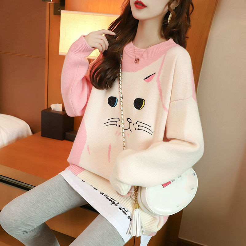 Woherb Autumn And Winter Sweater Women's Loose Long Sleeve Pullovers 2020 New Embroidered Cat Knit Tops Cute Sweaters Jumper