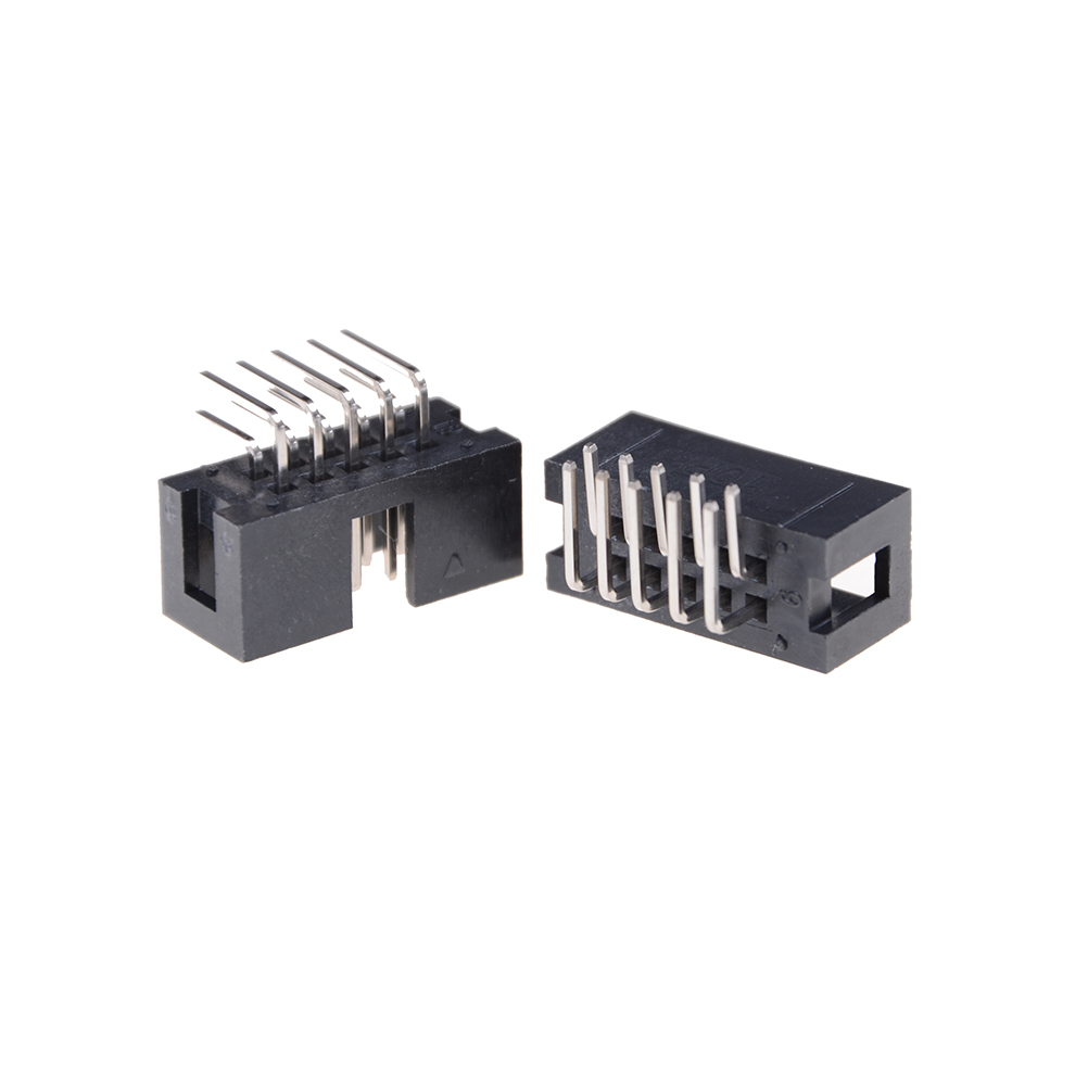 10pcs <font><b>Header</b></font> Connector Double-spaced <font><b>Pin</b></font> Male IDC Socket Box DC3 <font><b>10</b></font> <font><b>Pin</b></font> 2x5Pin Right <font><b>Angle</b></font> Double Row Pitch 2.54mm image