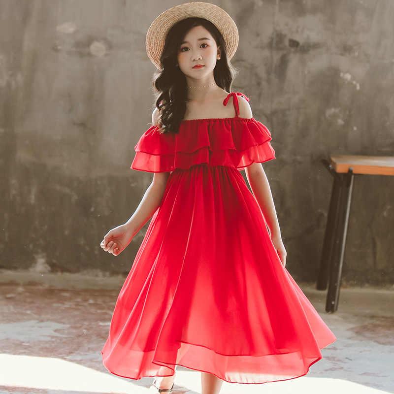 2020 Vestiti dalla ragazza di Estate Chiffon Rosso Shoulderless Vestito Dei Bambini del Vestito di Usura Della Spiaggia di Casual Delle Ragazze Del Partito Dei Bambini Abbigliamento 4 6 8 10 12 14 voti a favore