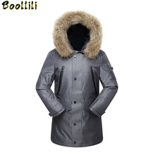 High Quality Real Fur Collar Long Down Jacket Men Windproof White Duck Down Jacket Men Russia Winter Jacket Men -40 Degree cheap Loose 1901 Casual zipper Full PATTERN Pockets 3D Print Wave Cut Epaulet Zippers Chains Thick (Winter) Broadcloth Acetate