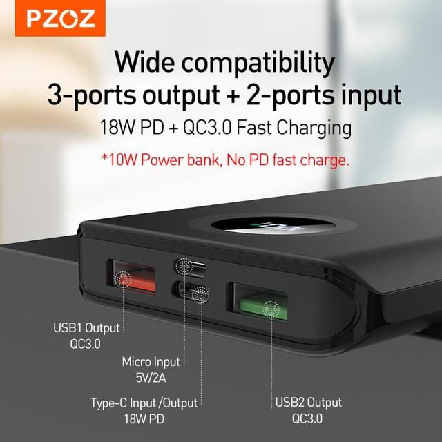 PZOZ 5A Power Bank 10000mAh Fast charging Mobile Phone External Battery Portable Charger 20000mAh PowerBank For iPhone Xiaomi Mi 2