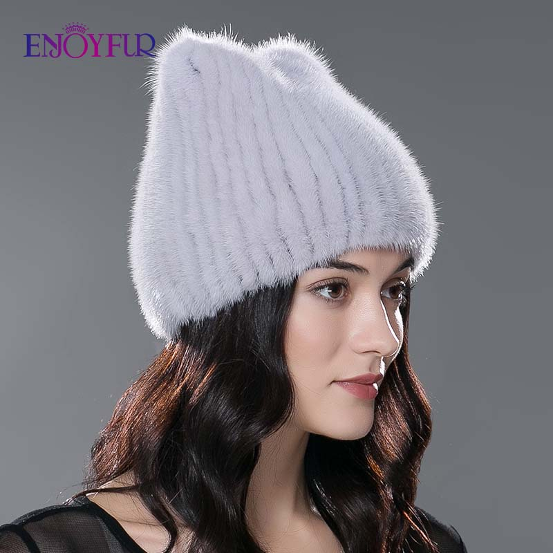Image 2 - ENJOYFUR winter women's hat real natural mink fur hats new fashion fur caps female thick warm russian beanies caps-in Women's Skullies & Beanies from Apparel Accessories