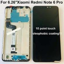 Original 6.26 สำหรับ Xiaomi Redmi หมายเหตุ 6 Pro Global จอแสดงผล LCD TOUCH Digitizer สัมผัสหน้าจอ + 10 จุด + กรอบ