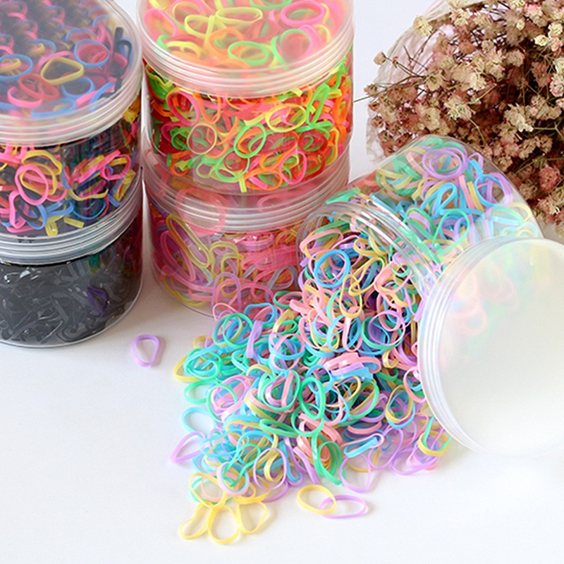 About 1000pcs/box Kids Disposable Rubber Band Children's Girls Thickening Hair Acessories Solid Color Hair Ring Hot