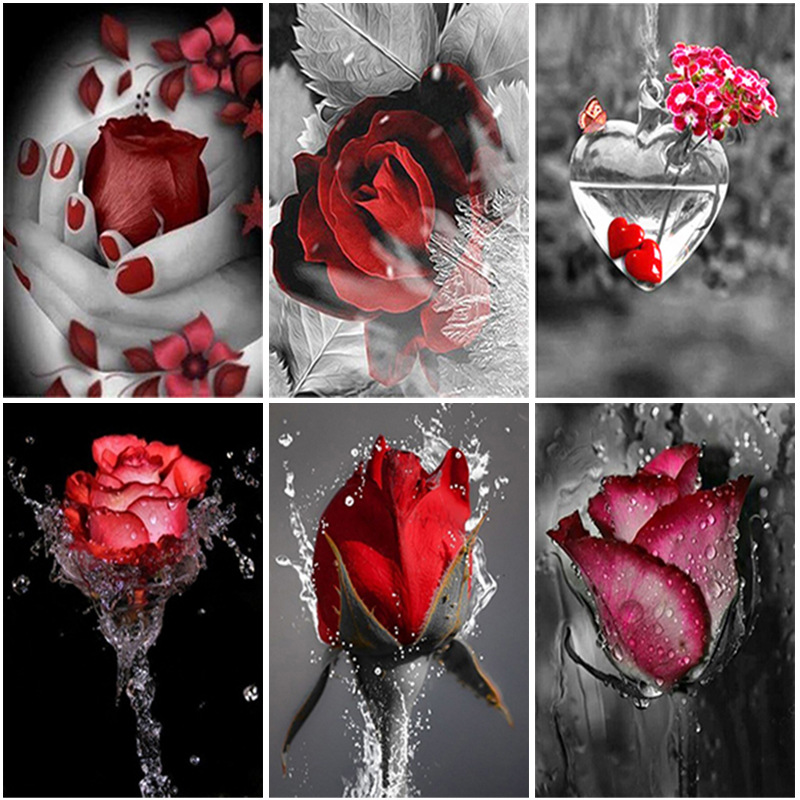 Full Square Round Rose Diamond Painting Cross Stitch Kits 5D Red and Black Flower Diamond Embroidery Handicraft Home Decoration