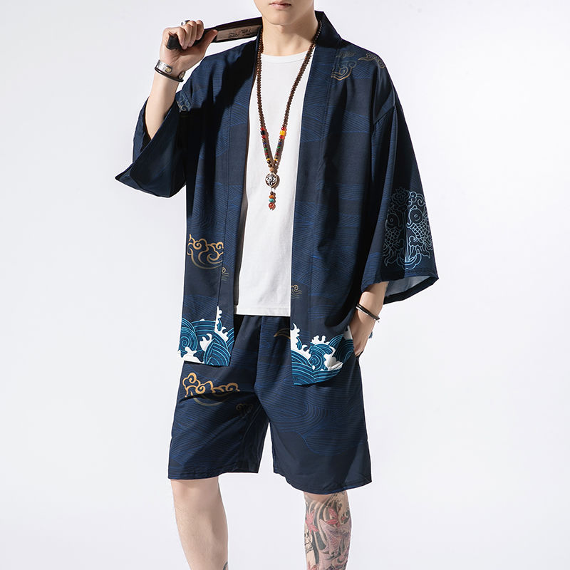 NiceMix Japanese Kimono Suit Male Cardigan Shorts Two Pieces Suits Seven-point Sleeves Robe Shirt Fairy Crane Print Hanfu Jacket