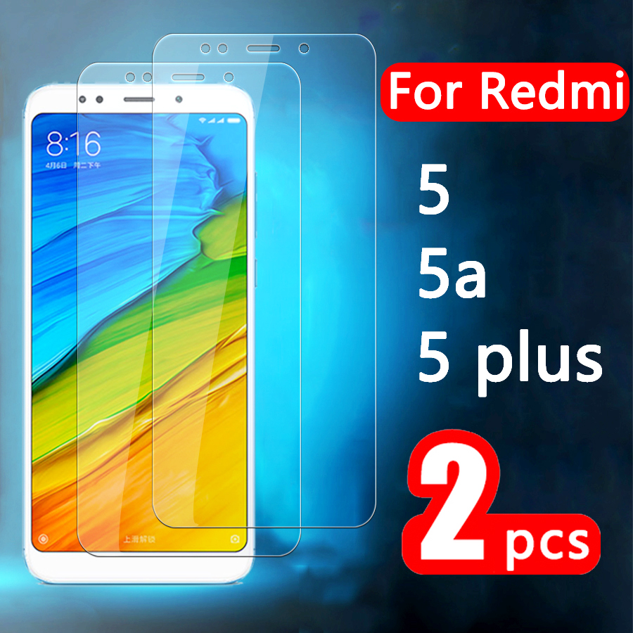 2Pcs Protective case on for xiaomi redmi 5 a 5a 5 plus glass ksiomi 5plus redmi5 screen protector xiami tempered sheet cover