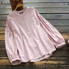 Linen Shirt Tops Spring Women's Blouse Down-Blusas Casual-Buttons Long-Sleeve Solid-Tunic