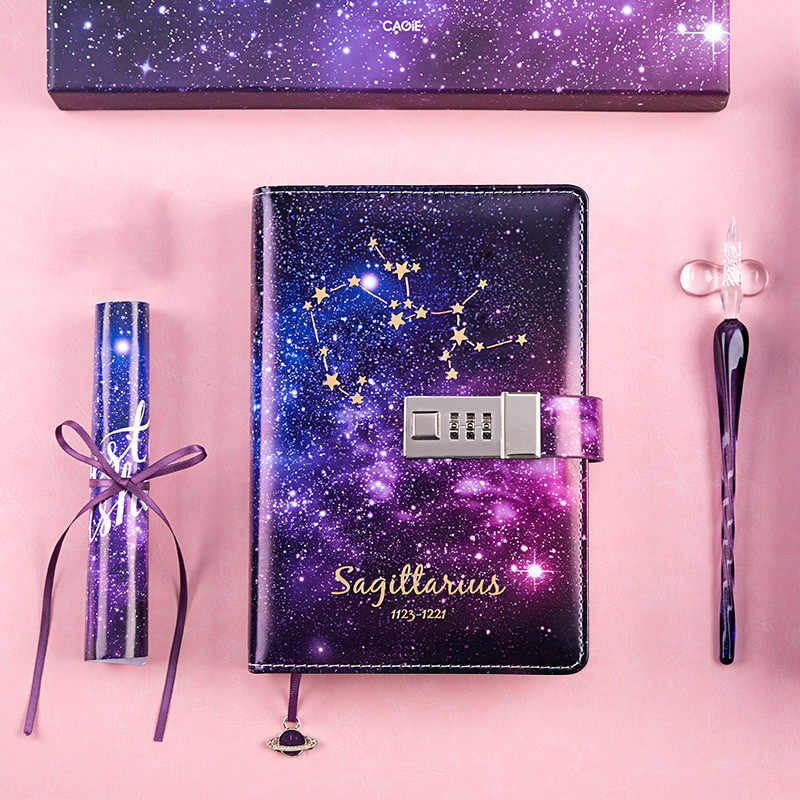 B6 יומן מתכנן מחברת מארגן וbullet כתבי עת Kawaii הערה ספר עם לנעול עשר קבוצות כוכבים סדר יום יום הולדת מתנות