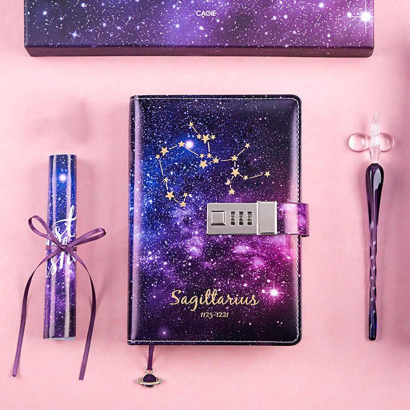 B6 diario cuaderno planificador organizador y Bullet revistas nota kawaii libro con cerradura 12 Constelaciones Agenda regalos de cumpleaños