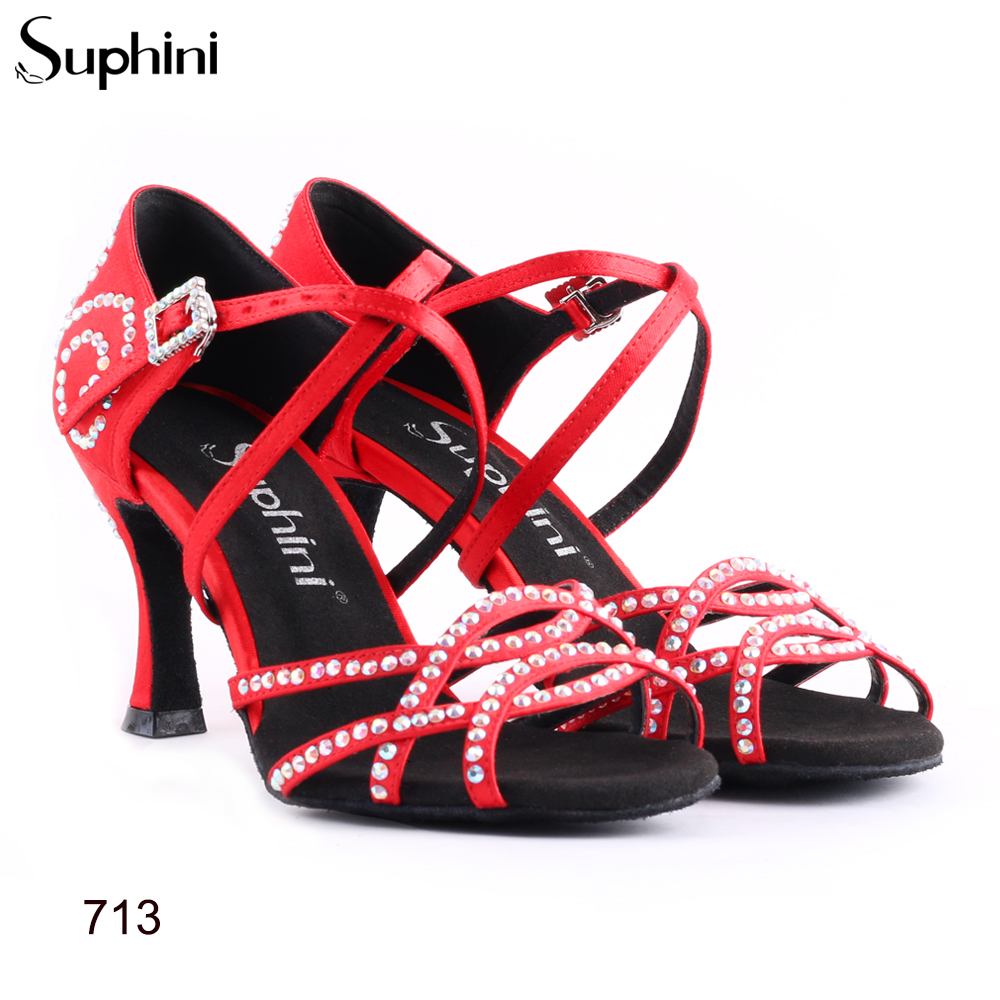 Suphini Classic Latin Dance Shoes Salsa Different Heels  Woman Free Shipping