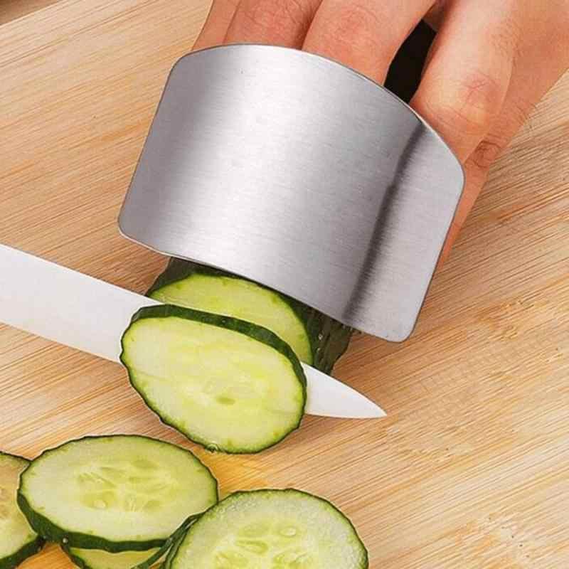 1 Buah Silver 6.4X4.8X2 Cm Stainless Steel Tangan Penjaga Portabel Praktis Keselamatan Jari Perlindungan Perisai Dapur alat Perlindungan
