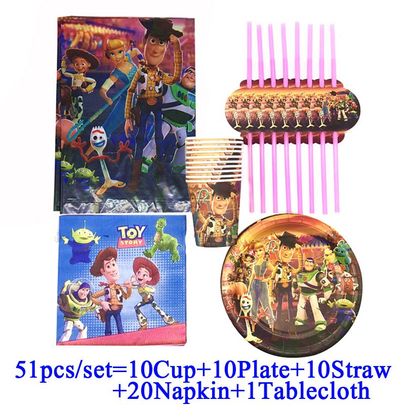 1st Birthday Boy Set Toy Story Party Theme Disposable Cups Plates Napkins Baby Shower Birthday Party Supplies Decor Banner Flags