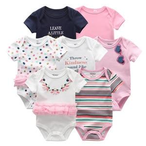 Image 2 - Vêtements dété pour bébés filles, 7 pièces/lot, barboteuse en coton unisexe de 0 à 12 mois, barboteuse dété pour bébés et garçons, vêtements à manches courtes, 2019