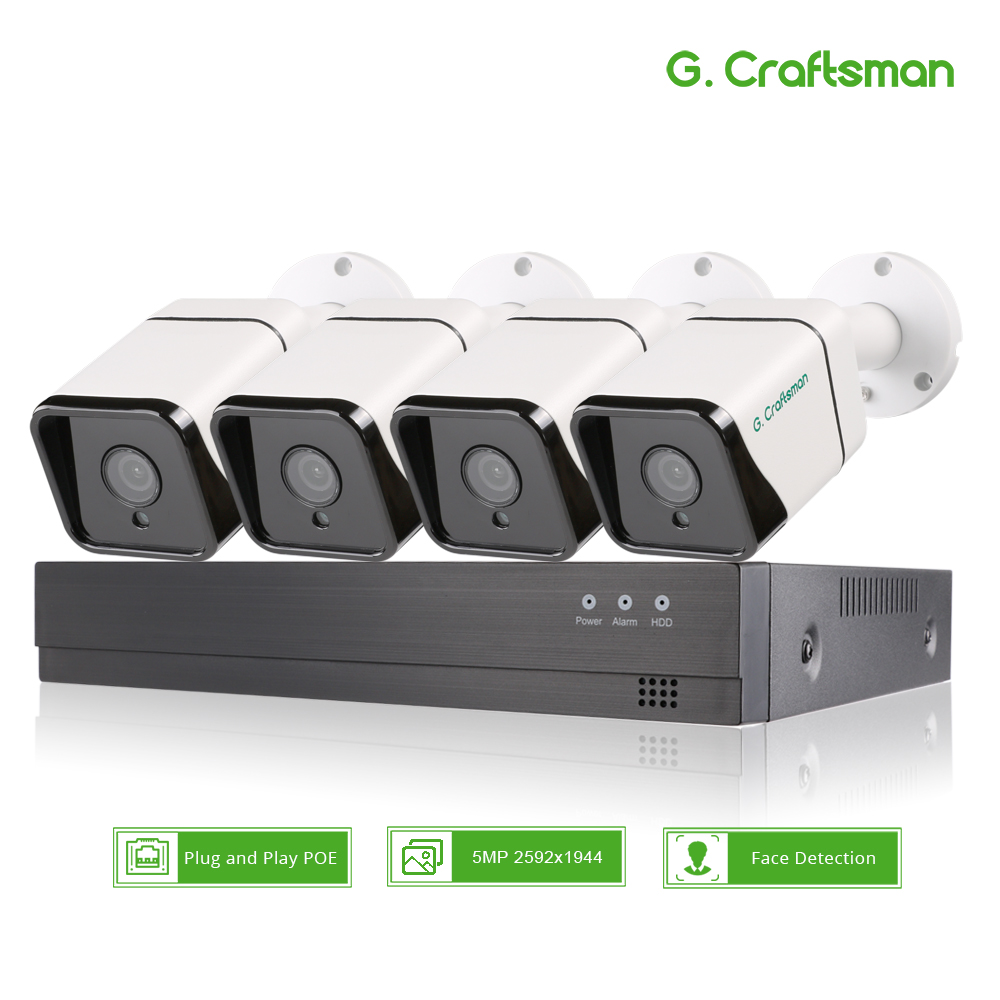XM Face Detection 4CH 5MP POE IP Camera System Kits Audio Waterproof CCTV Security Security title=