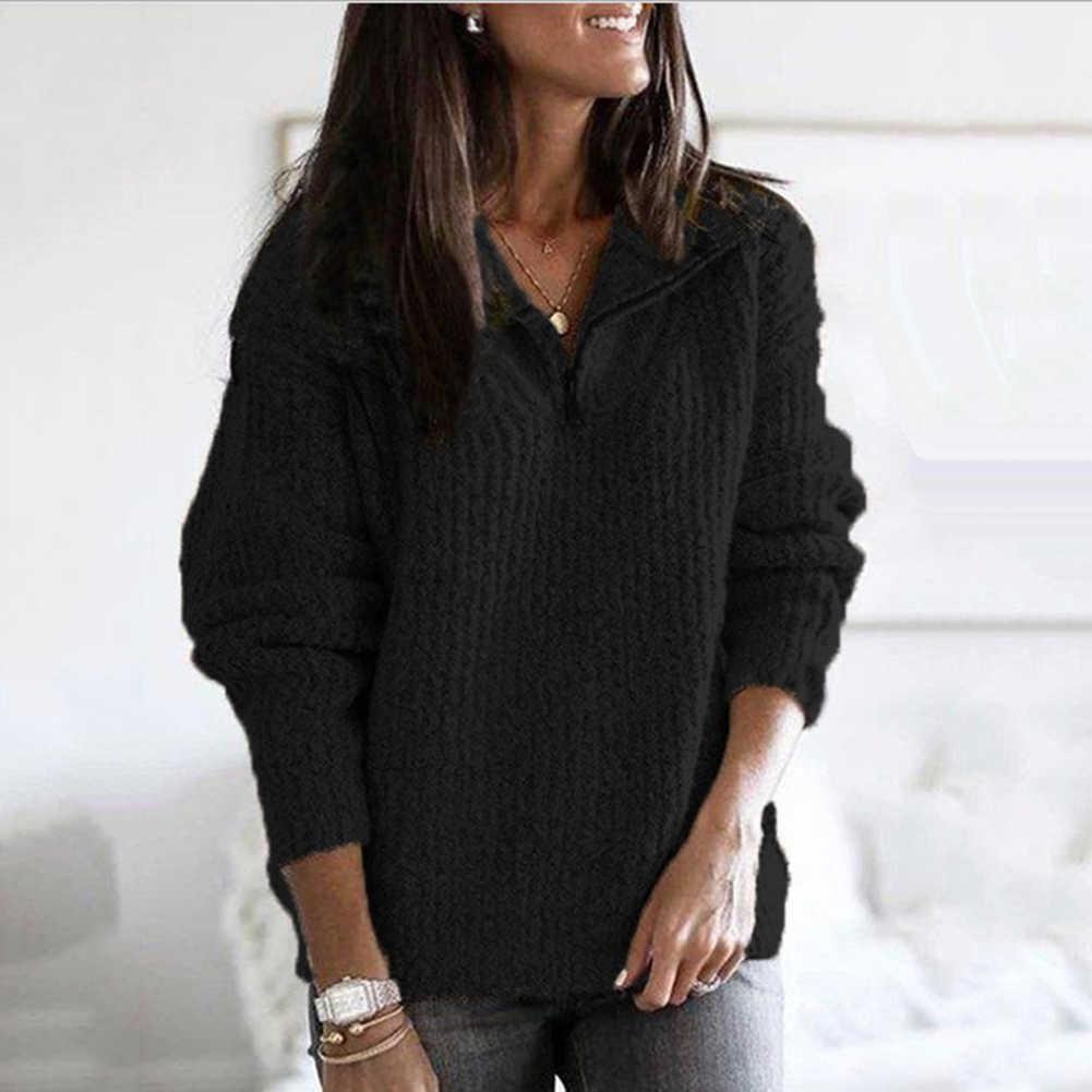 지퍼 절반 터틀넥 스웨터 여성 솔리드 슬림 가을 겨울 의류 2019 sueter mujer 기본 패션 풀오버