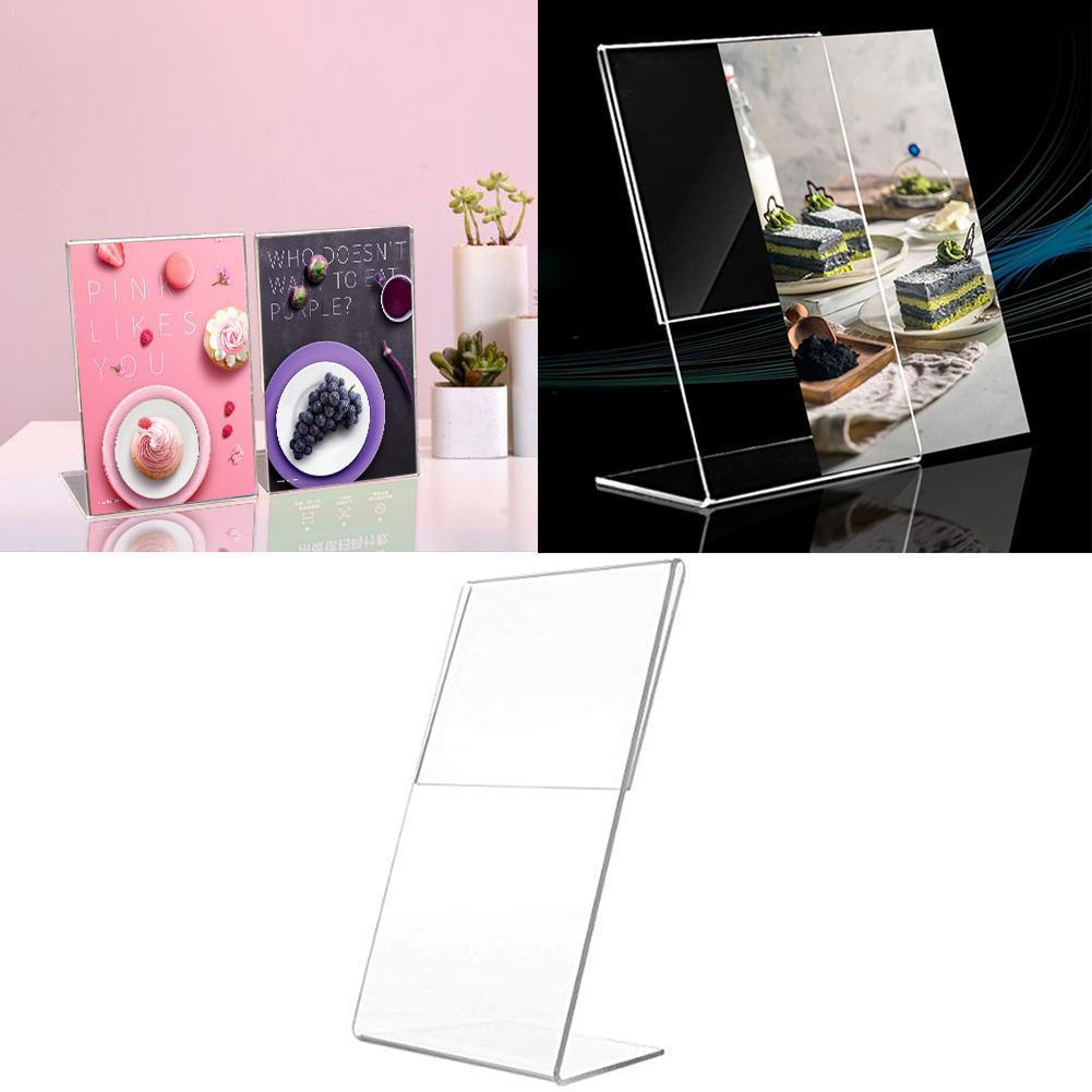 1PC Acrylic Clear Card Holder Stand A6 Sign Label Frame Desk Paper Card Business 1.3mm Holder Shelf Display Holders Card St Y9O2