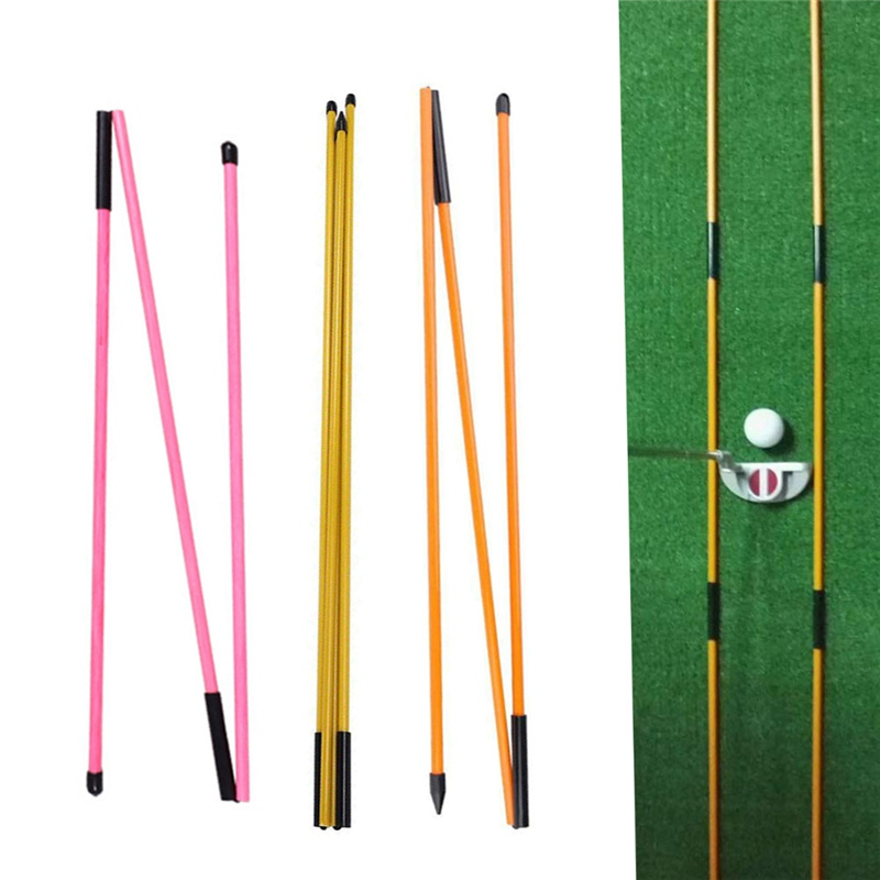 2 Pcs Golf Indicator Stick Putter Auxiliary Trainer Three-fold Direction Indicator Golf Training Equipments