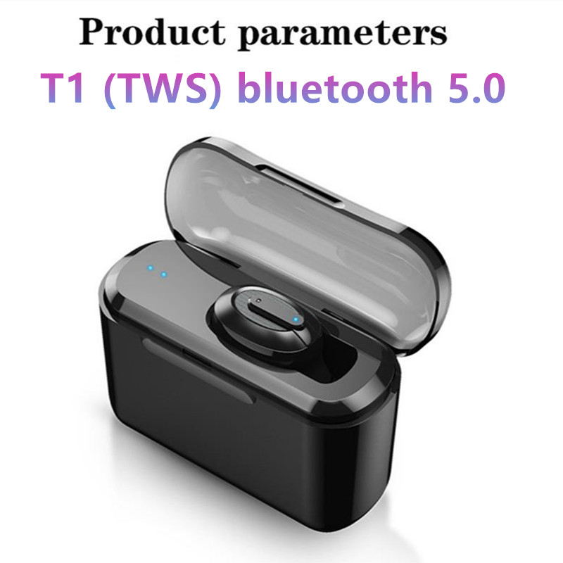 Drahtlose Bluetooth Stereo Headset T1 TWS Bass Bluetooth 5,0 mit Mikrofon Dual Bluetooth Sport Headset Stereo Headset sluchawki bluetooth fone de ouvido sem fio cascos inalambrico bluetooth oordopjes image