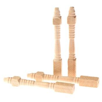 4 unids/lote 112 casa de muñecas miniatura DIY silla de madera mesa patas Accesorios