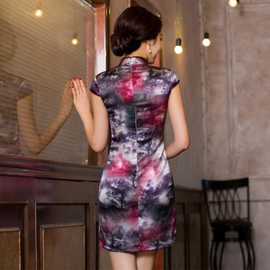 Image 3 - 2019 Direct Selling Improved Qipao Dress To Restore Ancient Ways Cultivate Temperament Bag Hip Collar Xiejin Silk Short Sleeve