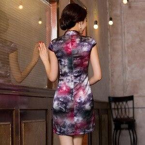 Image 3 - 2019 sprzedaż bezpośrednia ulepszona sukienka w stylu Qipao To powrót do przeszłości pielęgnować Temperament torba Hip kołnierz Xiejin jedwabiu krótkim rękawem