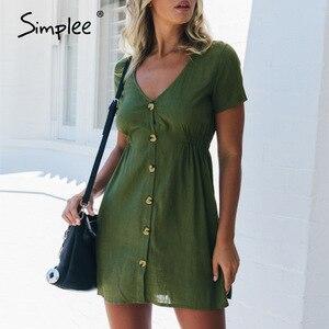 Image 4 - Simplee grande taille femmes robe boutons décontracté taille haute à manches courtes robe dété solide streetwear plage sexy robe de bureau 2020