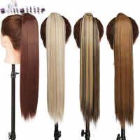 S-noilite 24 ''długie proste syntetyczne kucyk owinąć wokół klip w włosy w koński ogon przedłużanie odporne na ciepło włosy ogon