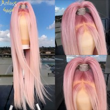 New Pink Color Synthetic Lace Front Wig For Women Straight Middle Part Lace Full Head wig Can Be Braided Cosplay Peruka Damska