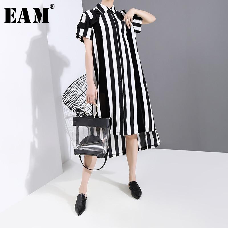 [EAM] Women Black Striped Ruffles Split Big Size Shirt Dress New Lapel Short Sleeve Loose Fit Fashion Spring Summer 2020 1T653