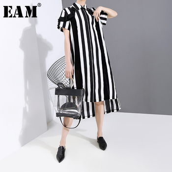 [EAM] Women Black Striped Ruffles Split Big Size Shirt Dress New Lapel Short Sleeve Loose Fit Fashion Spring Summer 2020 1T653